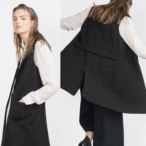 Zara Basic Black Long Vest